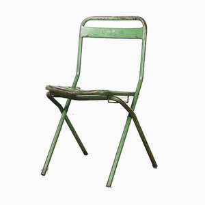 French Green Metal Folding Chairs, 1960s, Set of 6