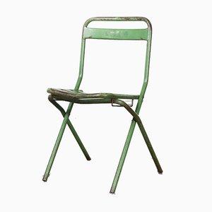 Sillas plegables francesas de metal verde, años 60. Juego de 6