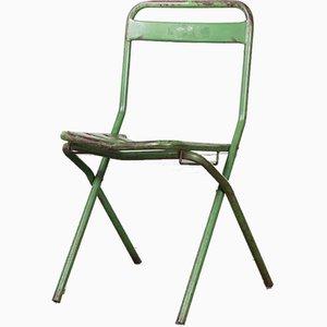 Sillas plegables francesas de metal verde, años 60. Juego de 8