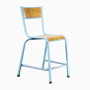 Mullca High Laboratory Blue Stacking Dining Chairs, 1950s, Set of 14