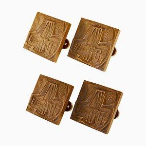 Brutalist Bronze Square Push and Pull Door Handles, Set of 4
