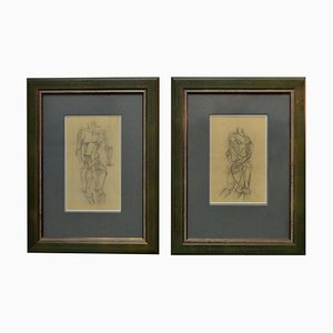 Cubist Style Female Studies of Life Drawings, Early 20th Century, Set of 2