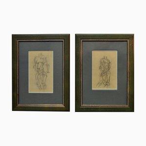 Dibujos de Studies of Life de estilo cubista, principios del siglo XX. Juego de 2