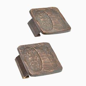 Brutalist Bright Bronze Push and Pull Door Handles, Set of 2