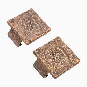 Tiradores de puerta cuadrados de bronce. Juego de 2