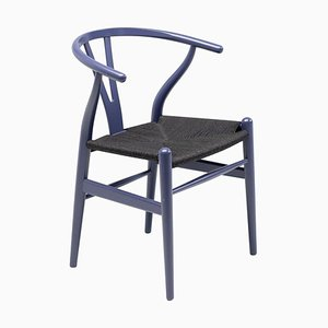 Purple CH24 Wishbone Chair with Black Paper Cord Seat by Hans Wegner for Carl Hansen
