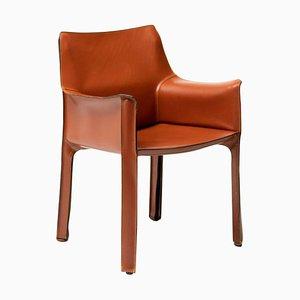 Cognac Leather Cassina Cab Armchair by Mario Bellini