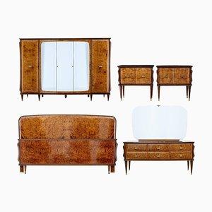 Italian Walnut and Mahogany Bedroom Suite, 1950s, Set of 5