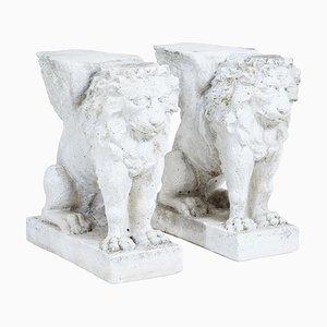 Early 20th Century Stone Garden Lion Pedestals, Set of Nan
