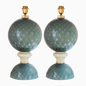 Blown Grey Murano Glass Table Lamps, Set of 2