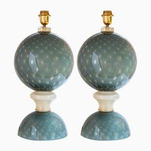 Geblasene graue Murano Glas Tischlampen, 2er Set