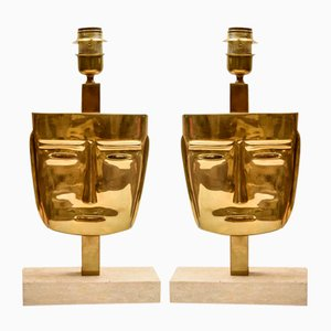 Vintage Face Sculpture Table Lamps in Brass, Set of 2