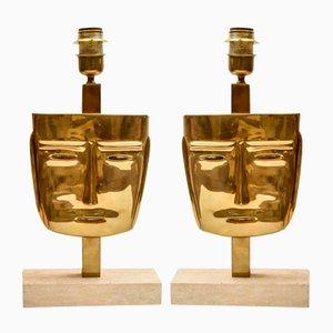 Vintage Face Sculpture Tischlampen aus Messing, 2er Set