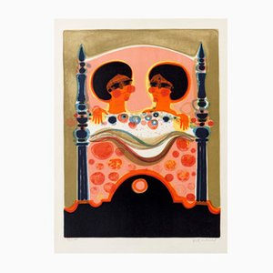 Two Ladies Colour Lithograph by Frederic Menguy