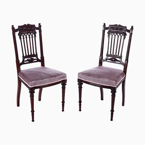 Antique Victorian Carved Mahogany Side Chairs, Set of 2