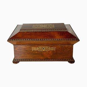 Antike Regency Teedose aus Palisander mit Intarsien aus Messing
