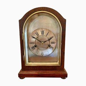 Reloj de chimenea eduardiano antiguo de caoba