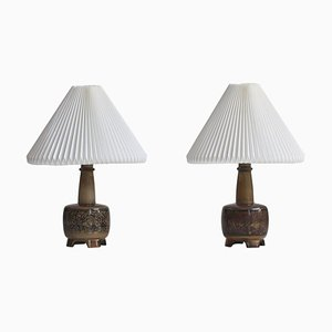 Stoneware Table Lamps by Nils Thorsson for Royal Copenhagen with Le Klint Shades, Set of 2