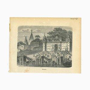 Varios artistas, Vista antigua de Benarés, década de 1850, Litografía original