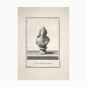 Carlo Oraty, Antike Römische Büste, Spätes 18. Jh., Original Radierung