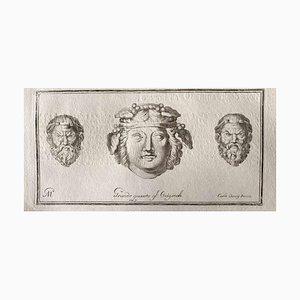 Varios artistas, cabezas humanas de la antigua Roma, década de 1750, Grabado original
