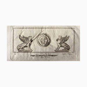 Acquaforte originale di Sfinge di Roma antica, anni '50