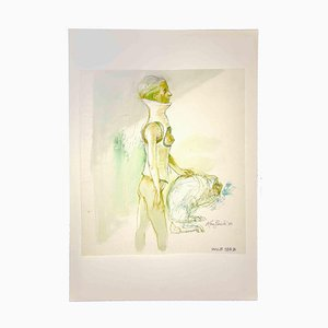 Leo Guida, desnudo, años 70, tinta china original
