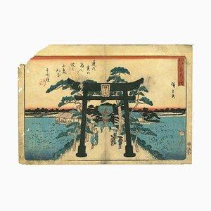 Utagawa Hiroshige, Shinobazu No Ike, berühmte Orte in Edo-Holzschnitt, 1842