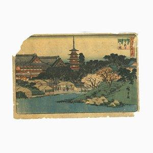 Xilografía Utagawa Hiroshige, Asakusa Kinryûzan Bentenyama No Zu, 1845