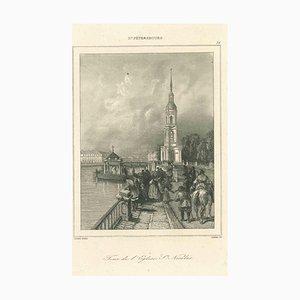 Varios artistas, Vista antigua de la Tour De Leglise St. Nicolas, década de 1850, Litografía original