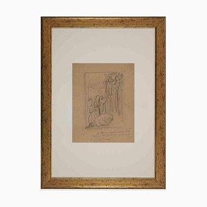 Desconocido, Escena sagrada, principios del siglo XX, dibujo a lápiz original