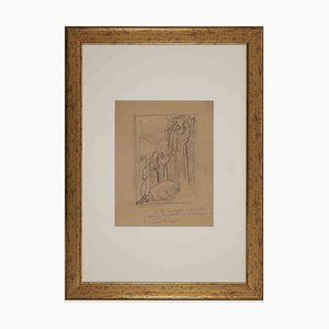 Inconnu, Scène Sacrée, Début du 20ème Siècle, Dessin Original au Crayon