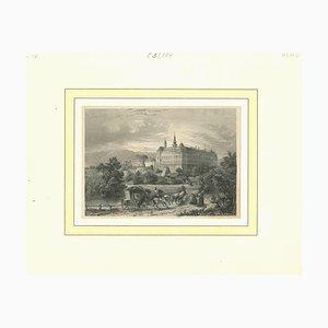 Varios artistas, vista antigua de Kloster Braunau, principios del siglo XIX, litografía original