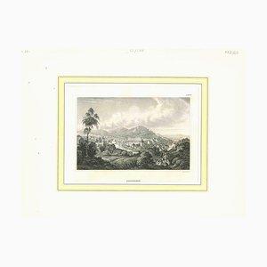 Varios artistas, Vista antigua de Carlsbad, principios del siglo XIX, litografía original