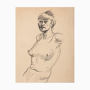 Unknown, Nude, Mid-20th Century, Original Pen Drawing