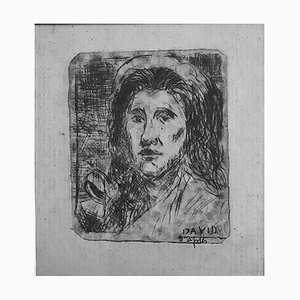 Albert Lepreux, Portrait After David, Early 20th Century, Original Etching