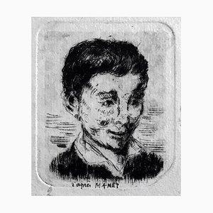 Albert Lepreux, The Portrait, principios del siglo XX, Grabado original