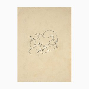 Unknown, The Man With Cigarette, China Ink, Early 20th Century