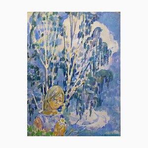 Gleb Savinov, Polja Girl, azul, óleo sobre lienzo, 1999