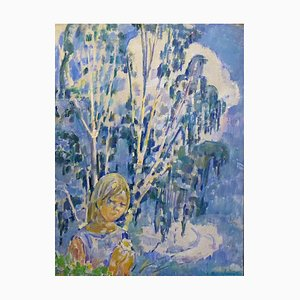 Gleb Savinov, Polja Girl, Blue, Oil on Canvas, 1999