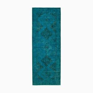 Turquoise Turkish Overdyed Runner Rug
