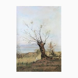 Árbol de Daniel Klein en otoño con vistas al lago, 1970