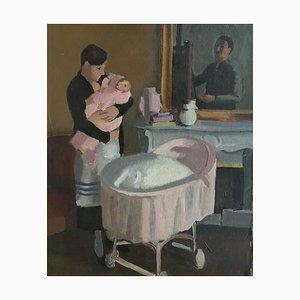 Henry Meylan, Peintre à son chevalet peignant femme et enfant, 1949