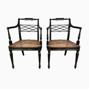 Antike georgianische Armlehnstühle aus Schilfrohr von Howard & Sons, Set of Nan