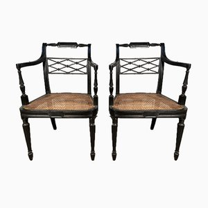 Antique Georgian Cane Elbow Chairs from Howard & Sons, Set of Nan