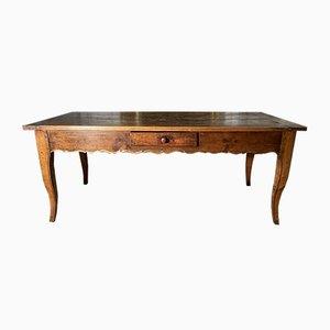 Mesa de comedor provincial francesa antigua de madera de árbol frutal