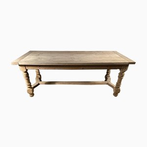 Antique French Refectory Farmhouse Bleached Oak Dining Table