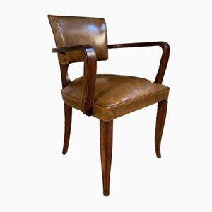 Antiker französischer Bridge Stuhl aus Leder