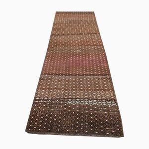 Colorful Brown Kilim Vintage Turkish Runner Rug
