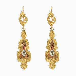 20th Century Enamel 18 Karat Yellow Gold Dangle Earrings, Set of 2